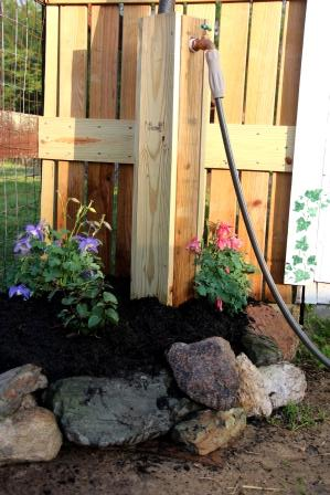 The water spigot is a great place for chocolate mint and columbine :-)